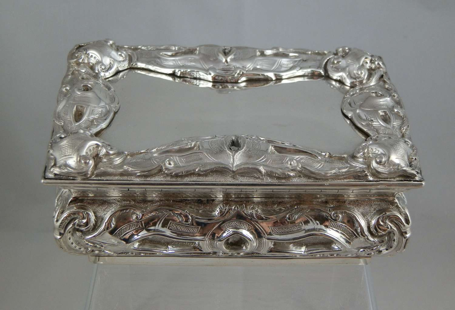 A very large Victorian silver table snuff box by Aston & Son 1858