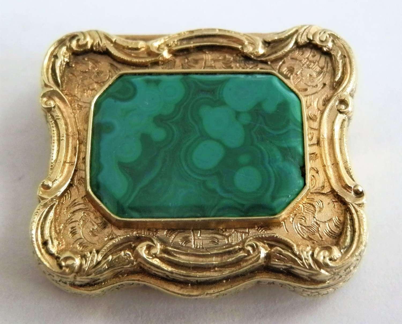 Scottish Victorian Silver Gilt Malachite Viniagrette. c.1850