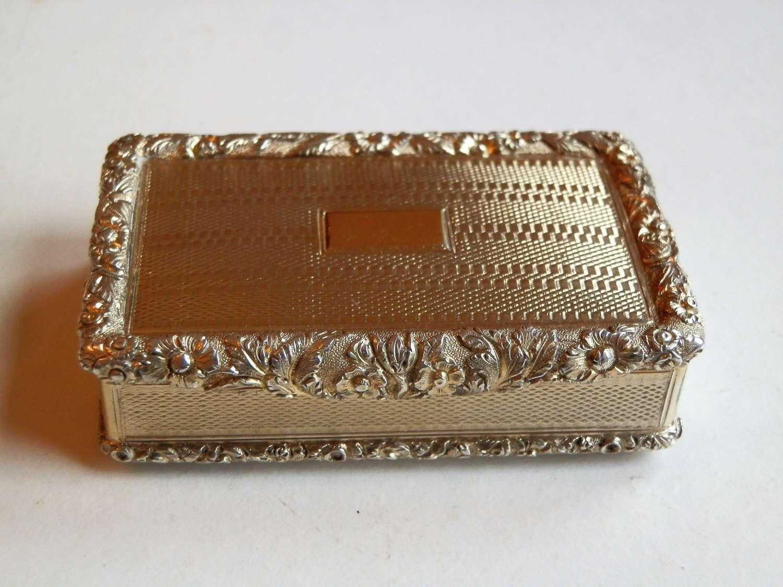 A stunning George IV silver gilt snuff box, Thomas Peacock 1825