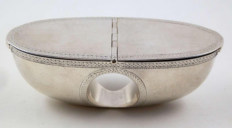 A very rare George III silver thumb hole snuff box, c.1780