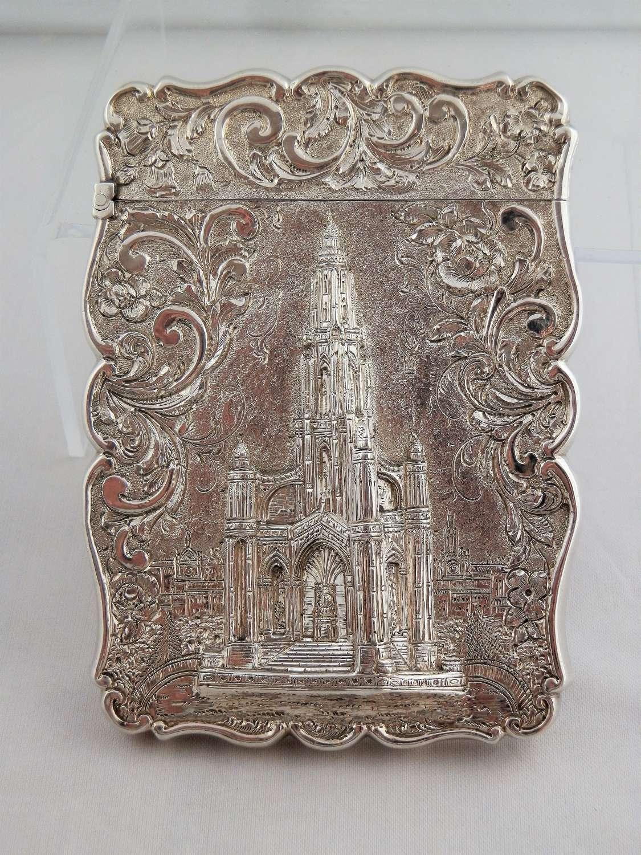 A Victorian castle top silver card case, Scott Monument,1846+