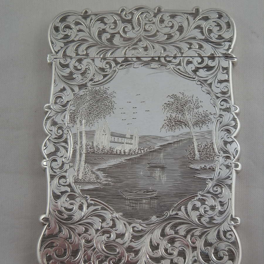 A Victorian engraved silver card case, Nathaniel Mills