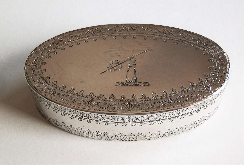 A George III oval silver snuff box, London 1786