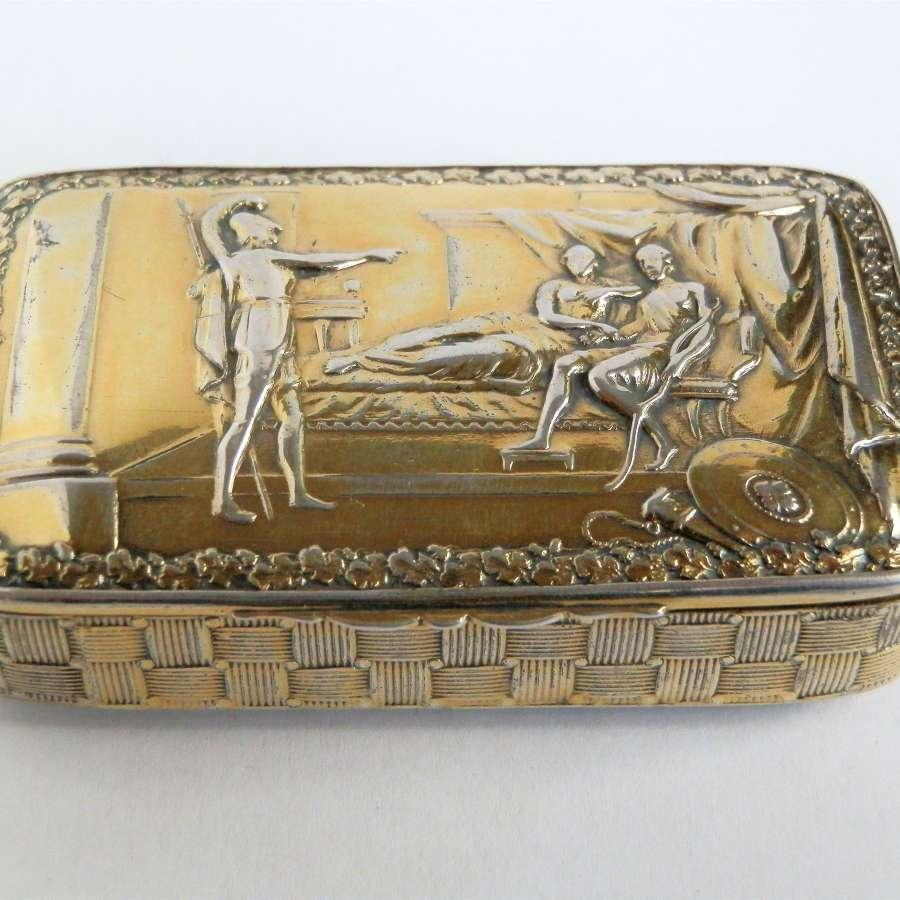 A rare George III silver gilt snuff box, Joseph Wilmore 1814