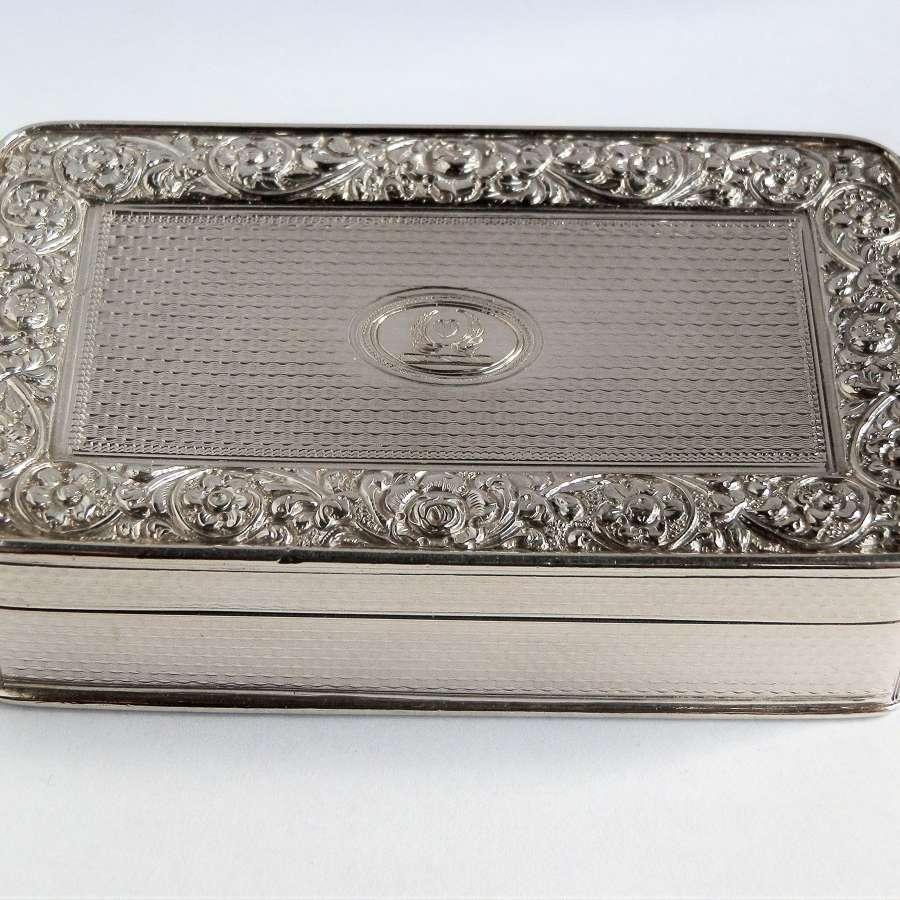 A large George III silver table snuff box, Wm Edwards, 1818