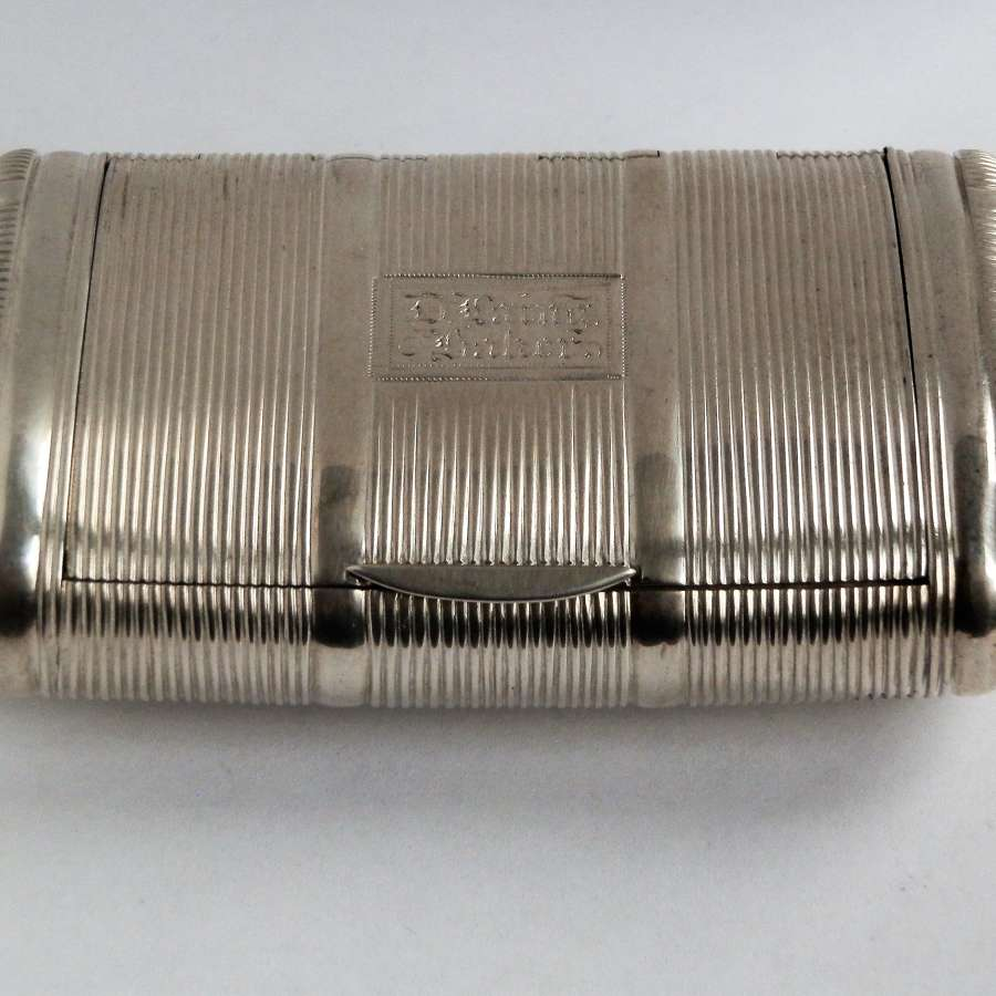 A large George III ribbed silver snuff box, London 1810