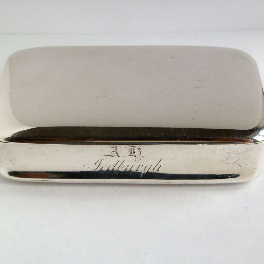 Rare William IV silver table snuff box. Nathaniel Mills, 1828