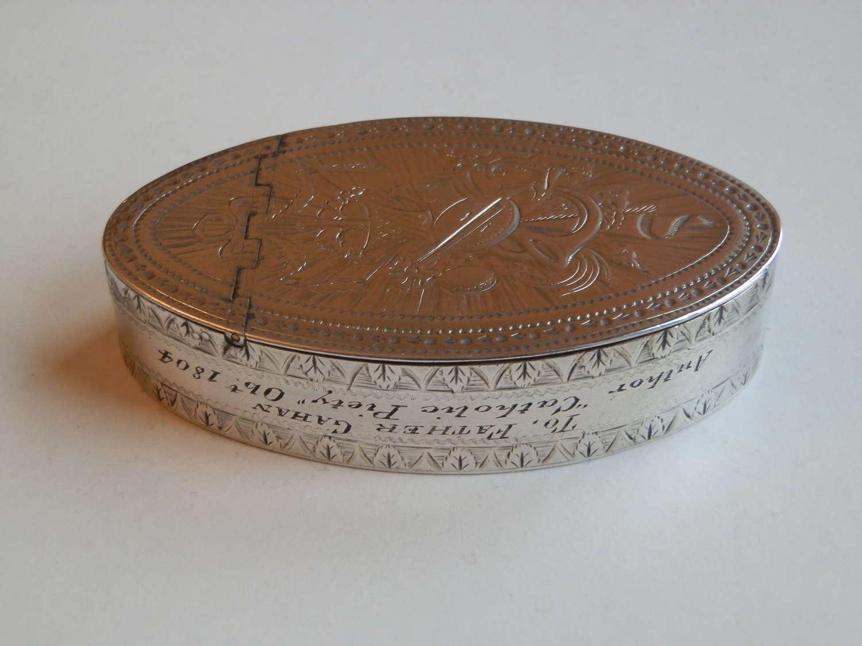 A George III navette silver snuff box, London 1787