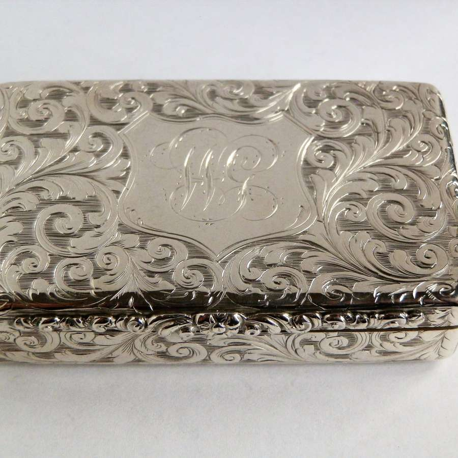 An early Victorian silver pocket snuff box, Edward Smith 1845.