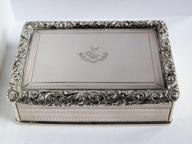 A large William IV table snuff box, Joseph Wilmore, 1832
