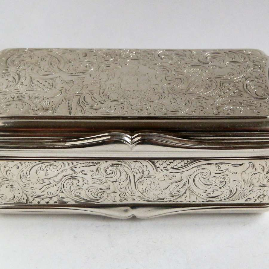 A large Victorian silver table snuff box, John Howes, 1842