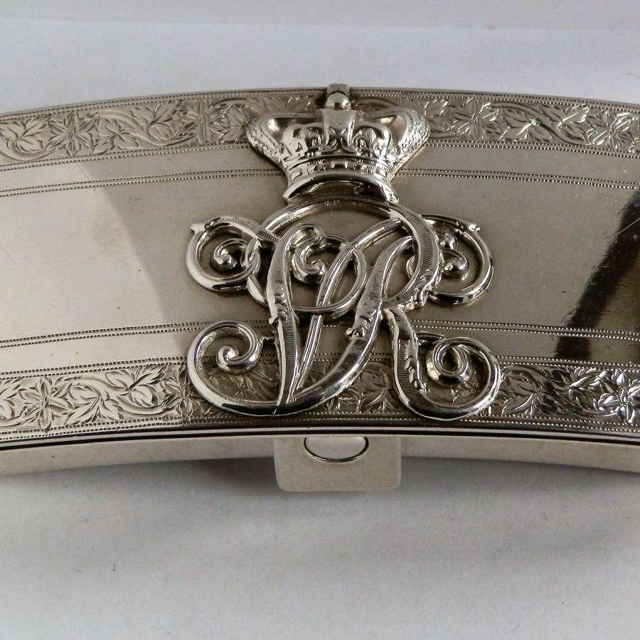 A silver military Victorian table vesta box, 17th Lancers, 1889