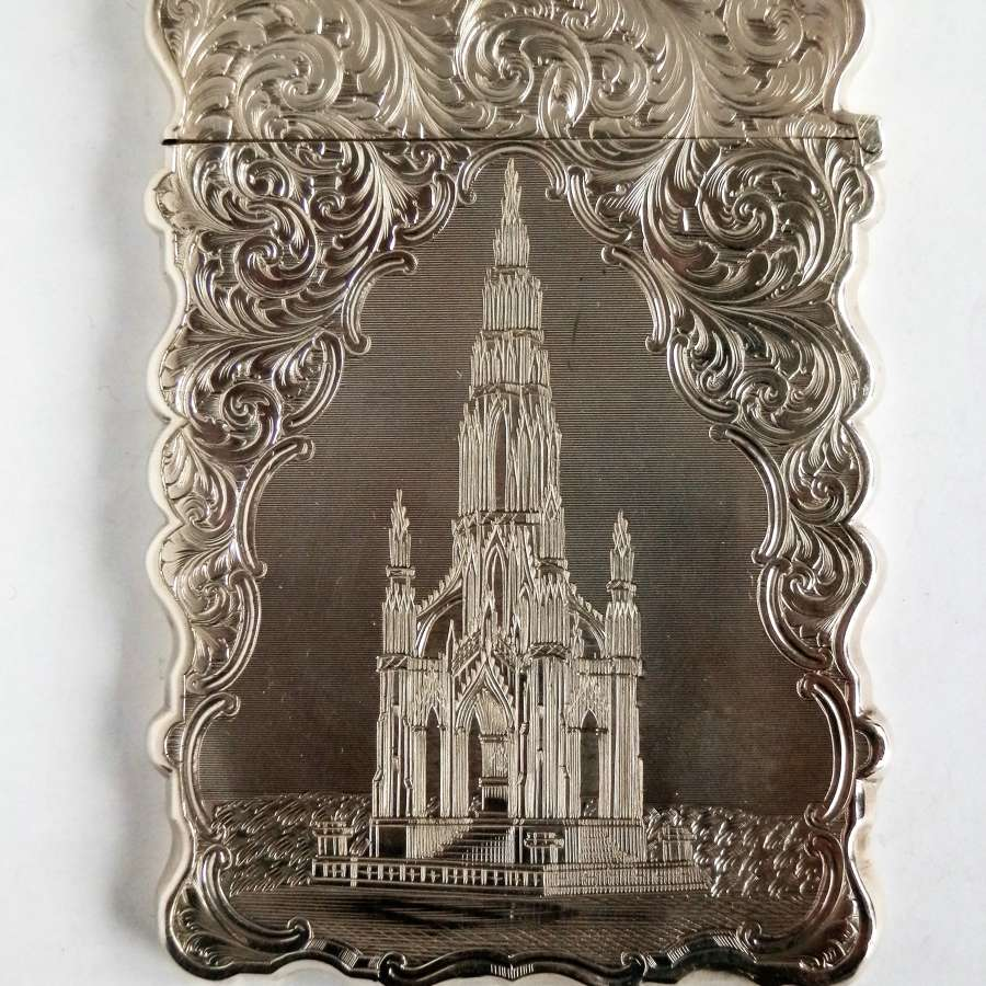 Victorian silver card case, Nathaniel Mills, Scott Monument,1852