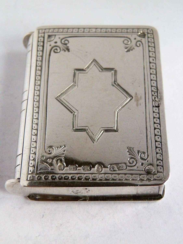 Victorian silver vesta case, double opening, 1877