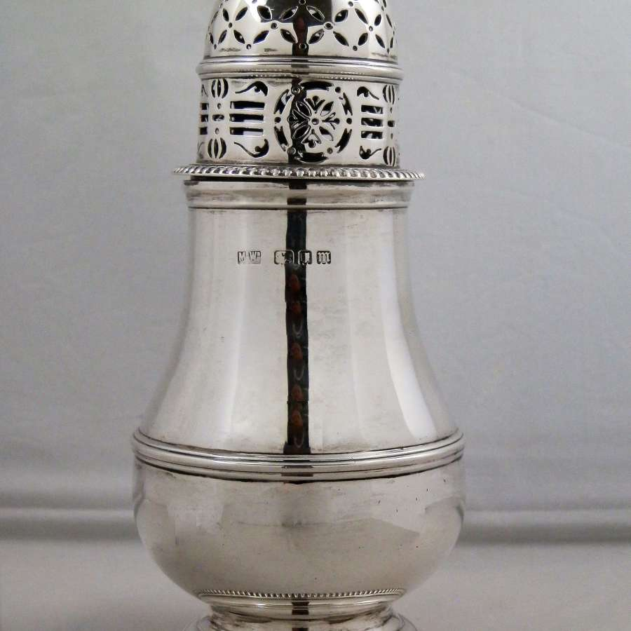 Silver sugar caster, Mappin and Webb, 1927
