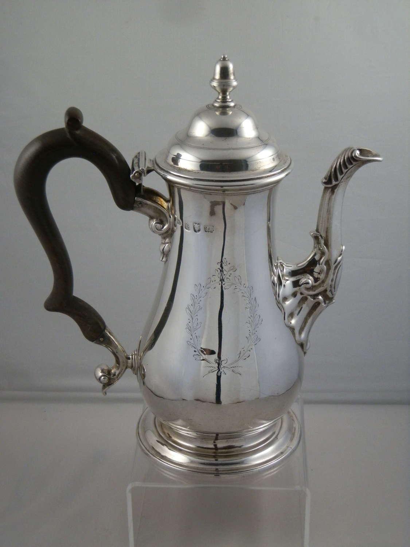 George II silver coffee pot, London 1756
