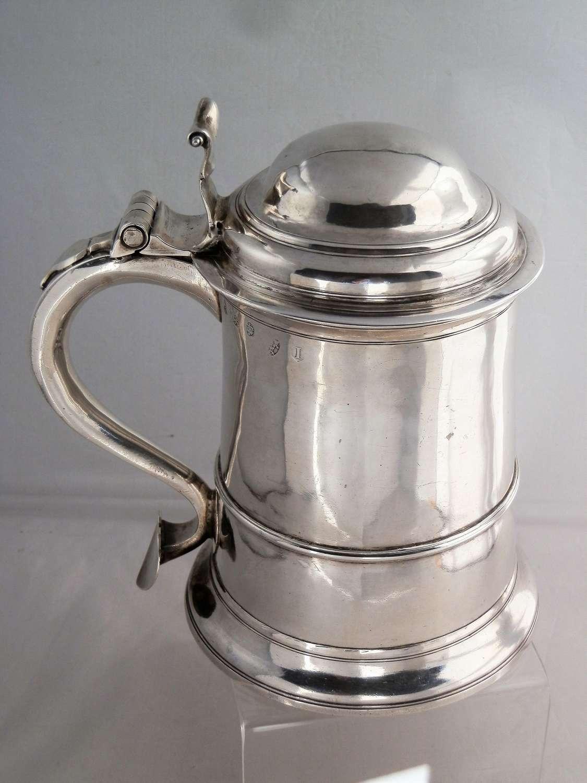 Newcastle silver lidded tankard, Issac Cookson, 1748