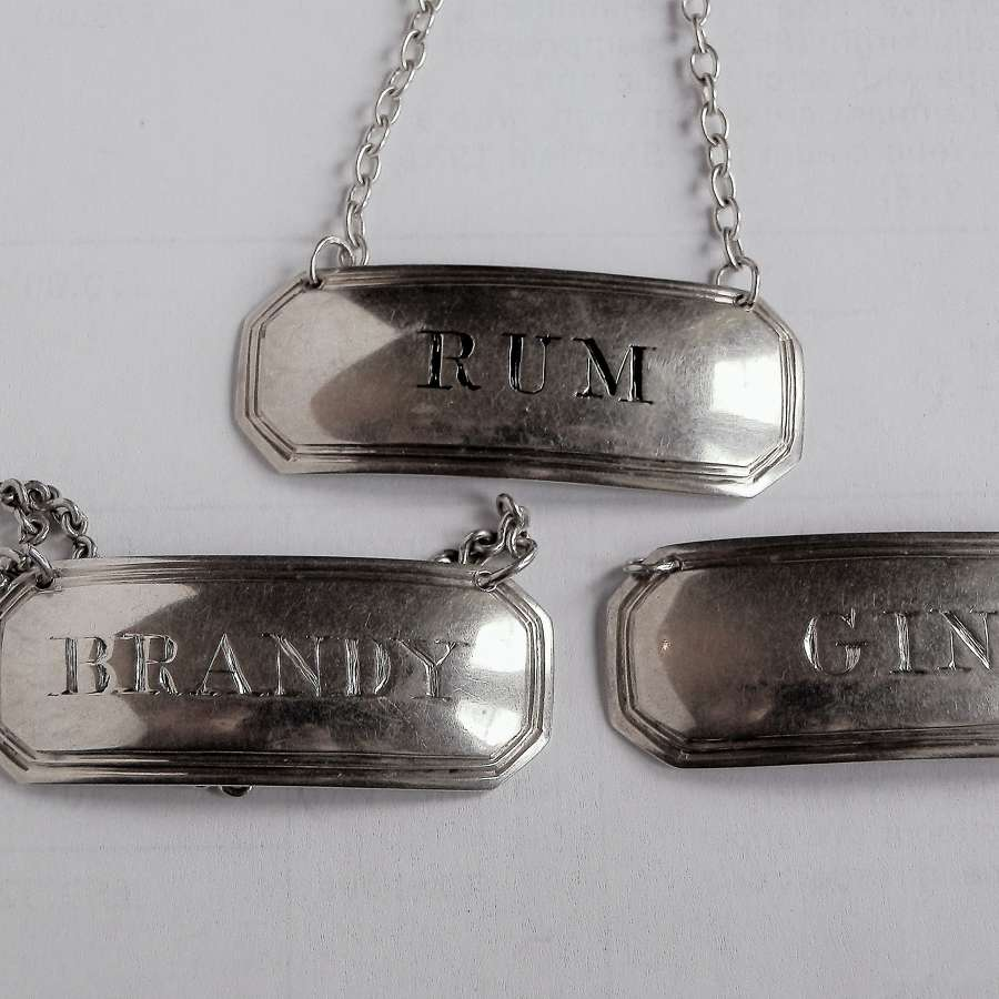 Scottish provincial silver set of 3 labels, Aberdeen, c.1810