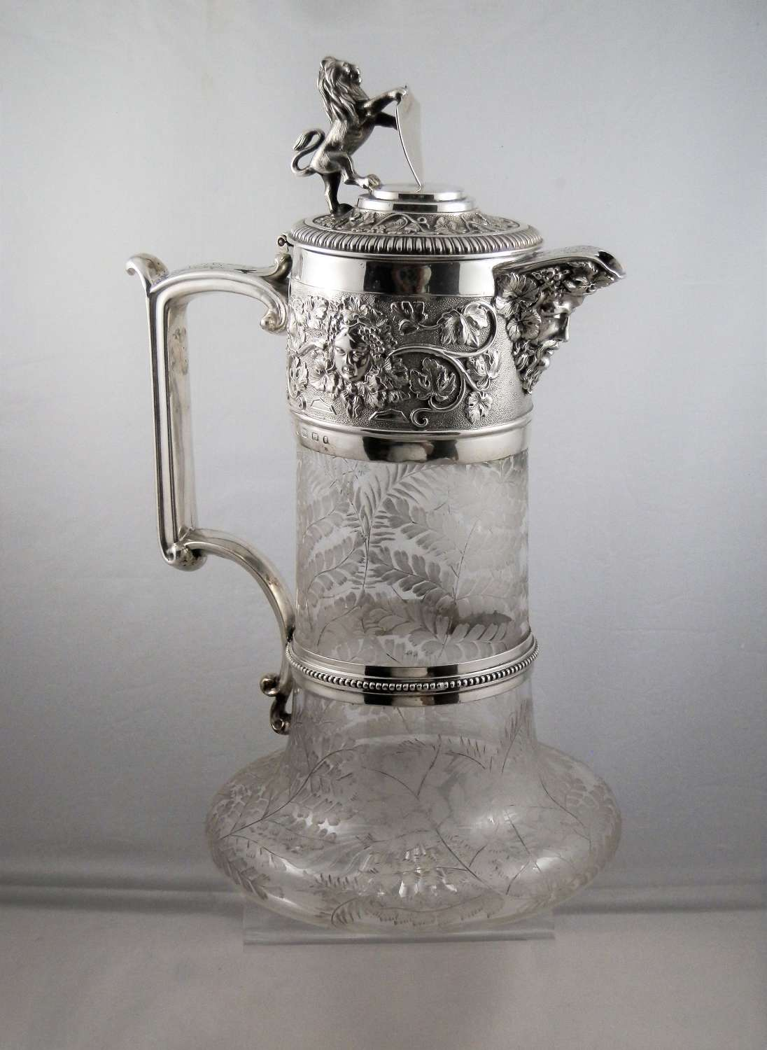 Victorian silver and glass decanter, Elkington, 1869