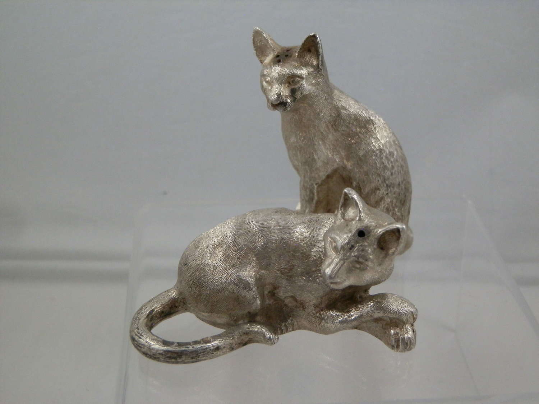 Pair silver cat condiments, Comyns, London, 1990