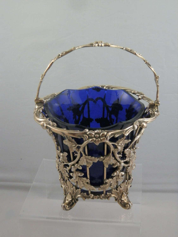 Victorian silver glit sugar basket, Barnard Brothers 1844