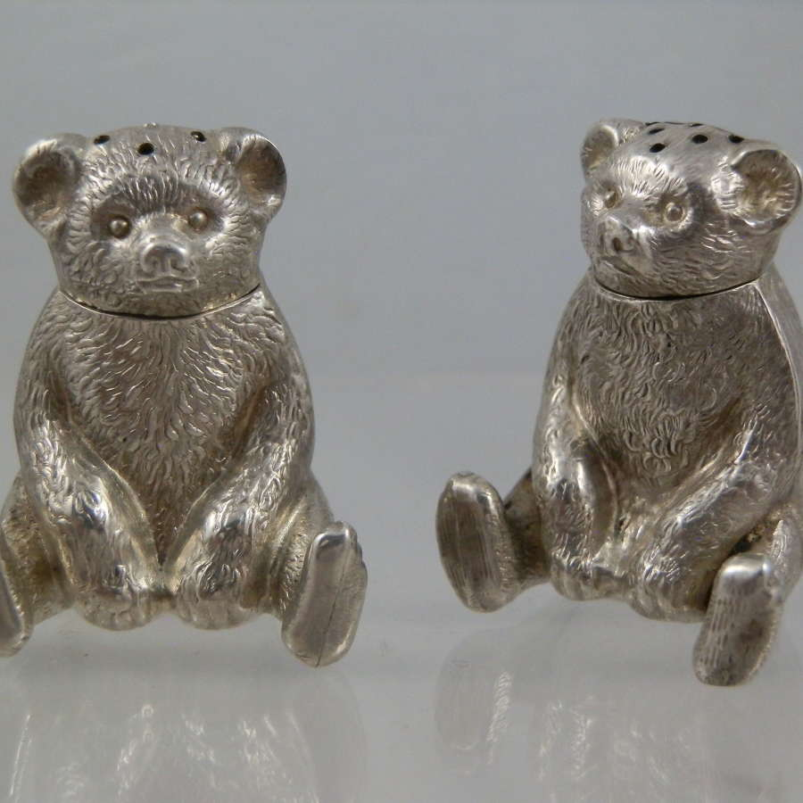 Edwardian pair teddy Bear condiments, 1909