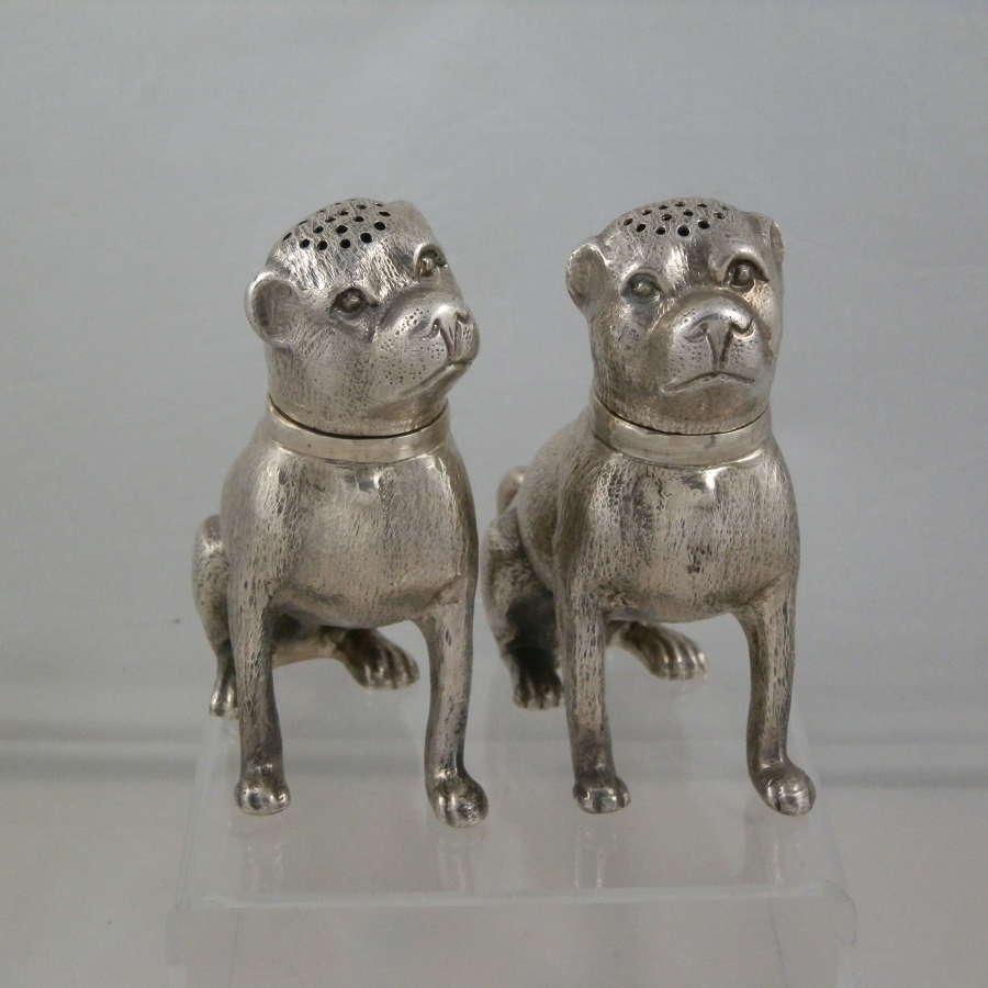 Silver dog style condiments, Italian c.1960