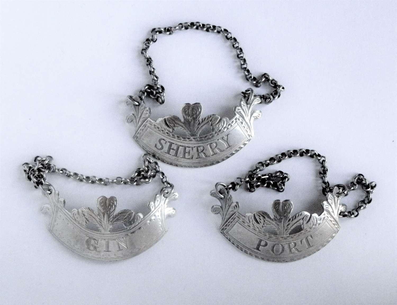 George III set of 3 silver wine labels London 1792-8