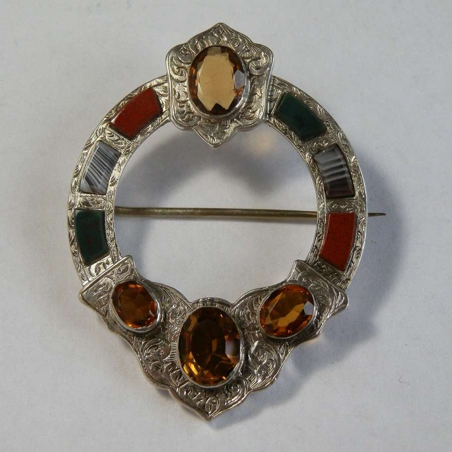 Victorian Scottish silver, agate and citrine brooch