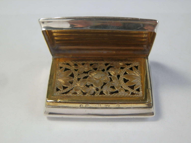 George III silver viniagrette, Birmingham 1814