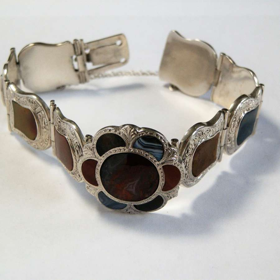 Scottish Victorian silver and agate bracelet, c. 1880