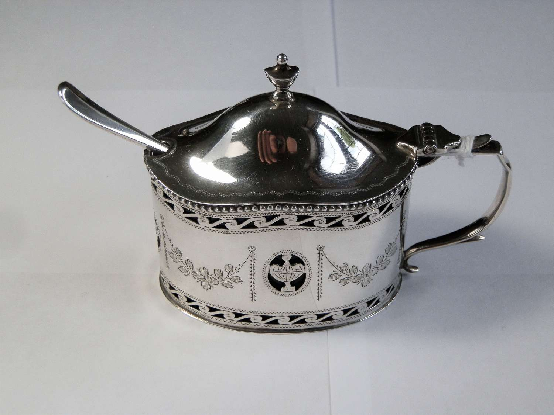 Silver mustard pot, Comyns, London 1936