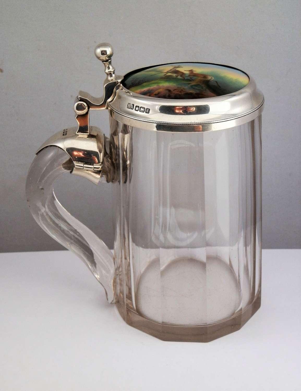 Glass and silver tankard, porcelain insert, Sheffield 1915