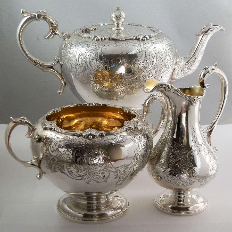 Victorian Scottish silver 3 piece tea set, Edinburgh 1850