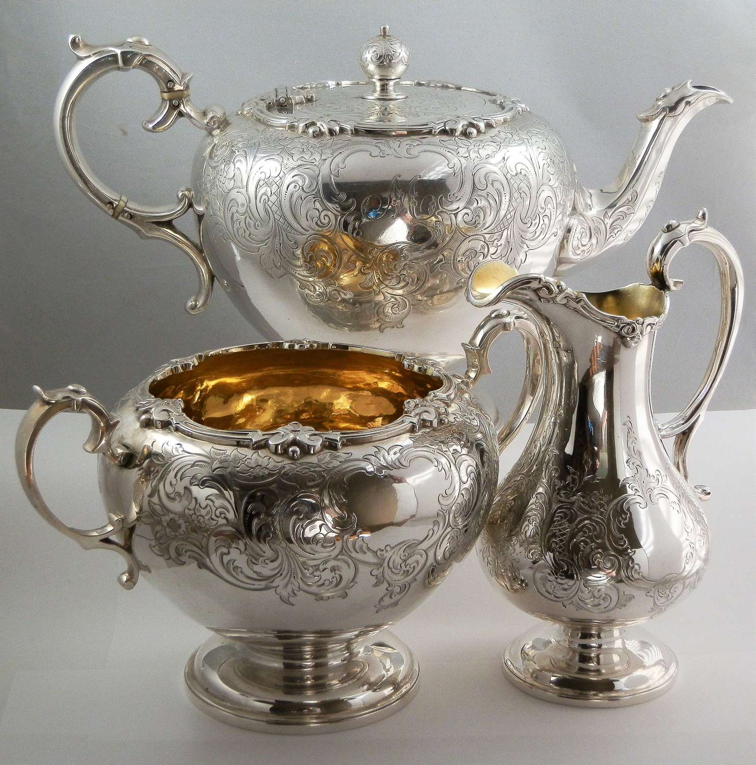 Victorian Scottish silver 3 piece tea set, Edinburgh 1850