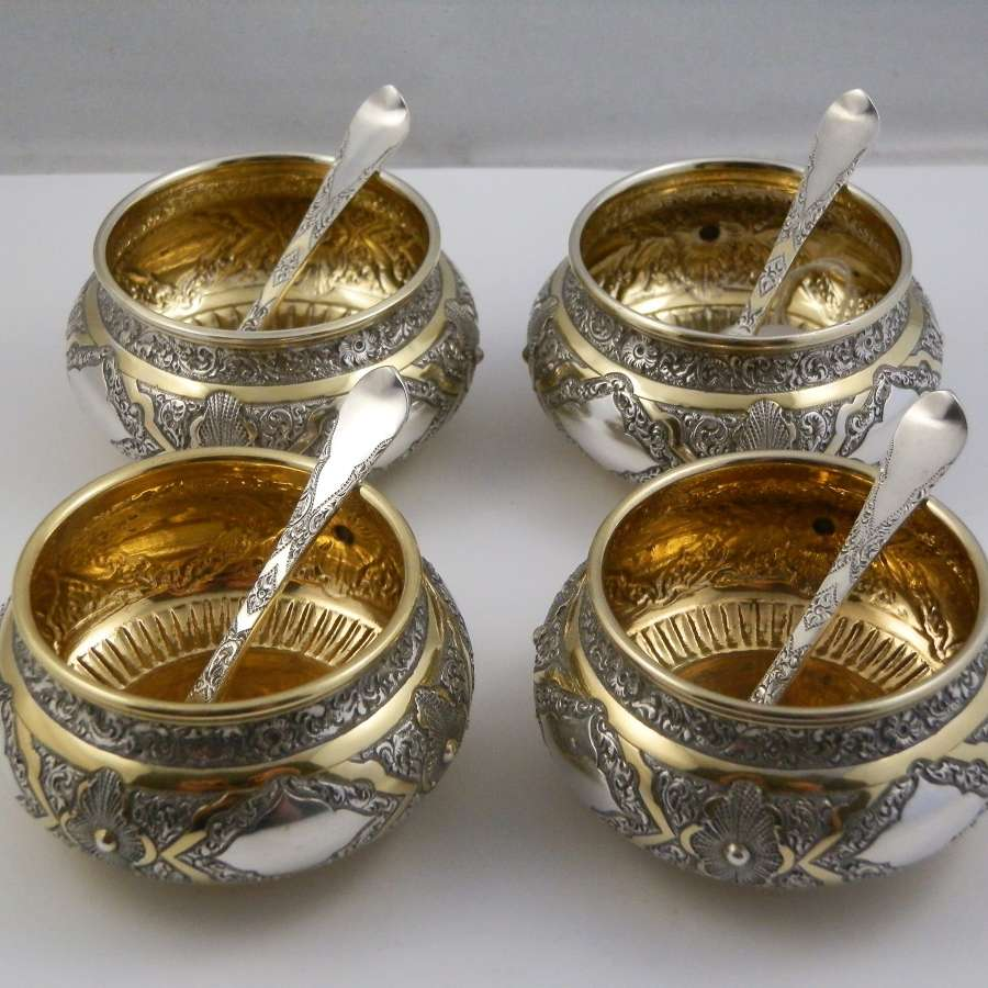 Victorian set 4 silver salts, Elkington, 1880
