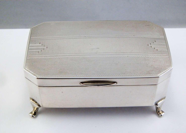 Silver art deco Jewellery box, Sheffield 1936