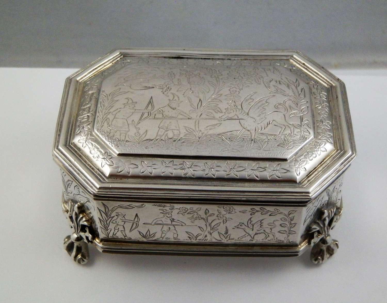 Edwardian silver jewellery box, London 1911