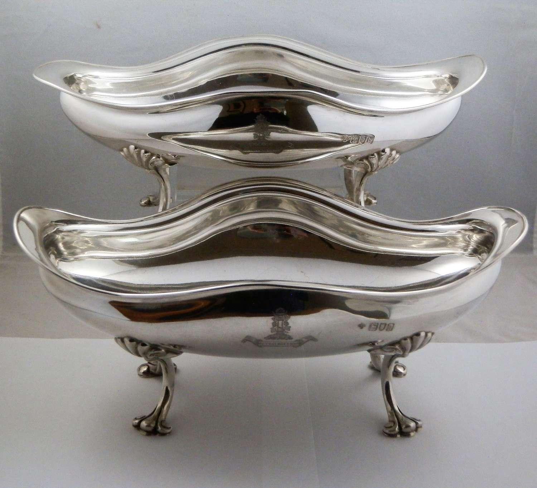 Edwardian pair silver serving bowls, London 1903