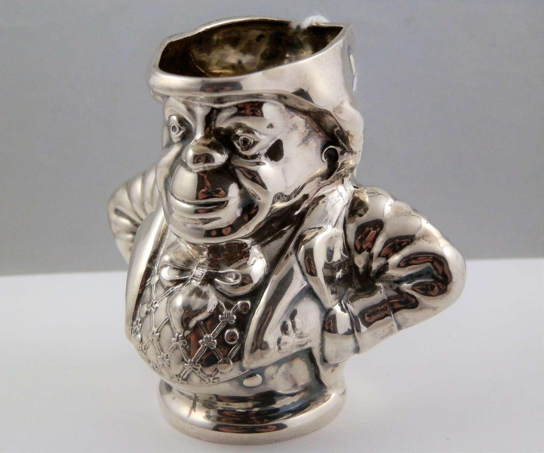 Edwardian silver Irish toby jug, Birmingham 1906.