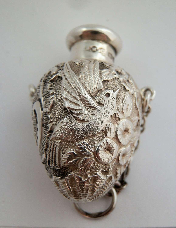 Samson Mordan, silver cast scent bottle, Chester 1906