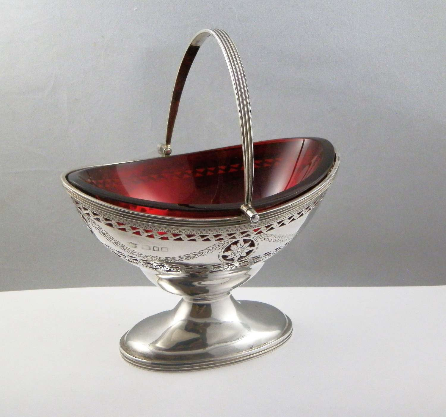 Victorian silver and cranberry glass bowl, London 1898