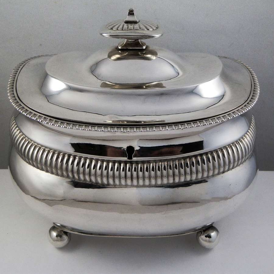 George III silver double tea caddy, London 1811