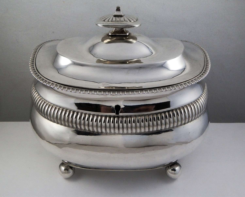 George III silver double tea caddy, London 1811