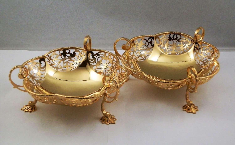 Pair of silver gilt bon bon dishes, London 1917
