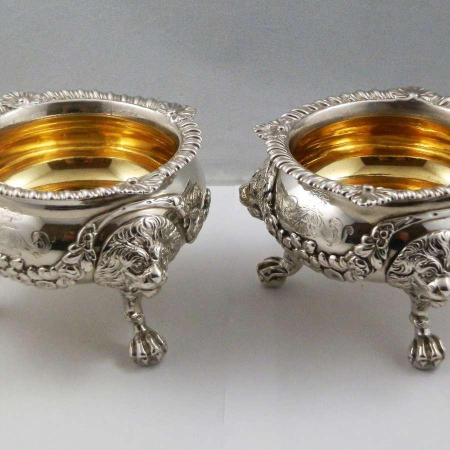 George III pair of extra large salts, London 1813