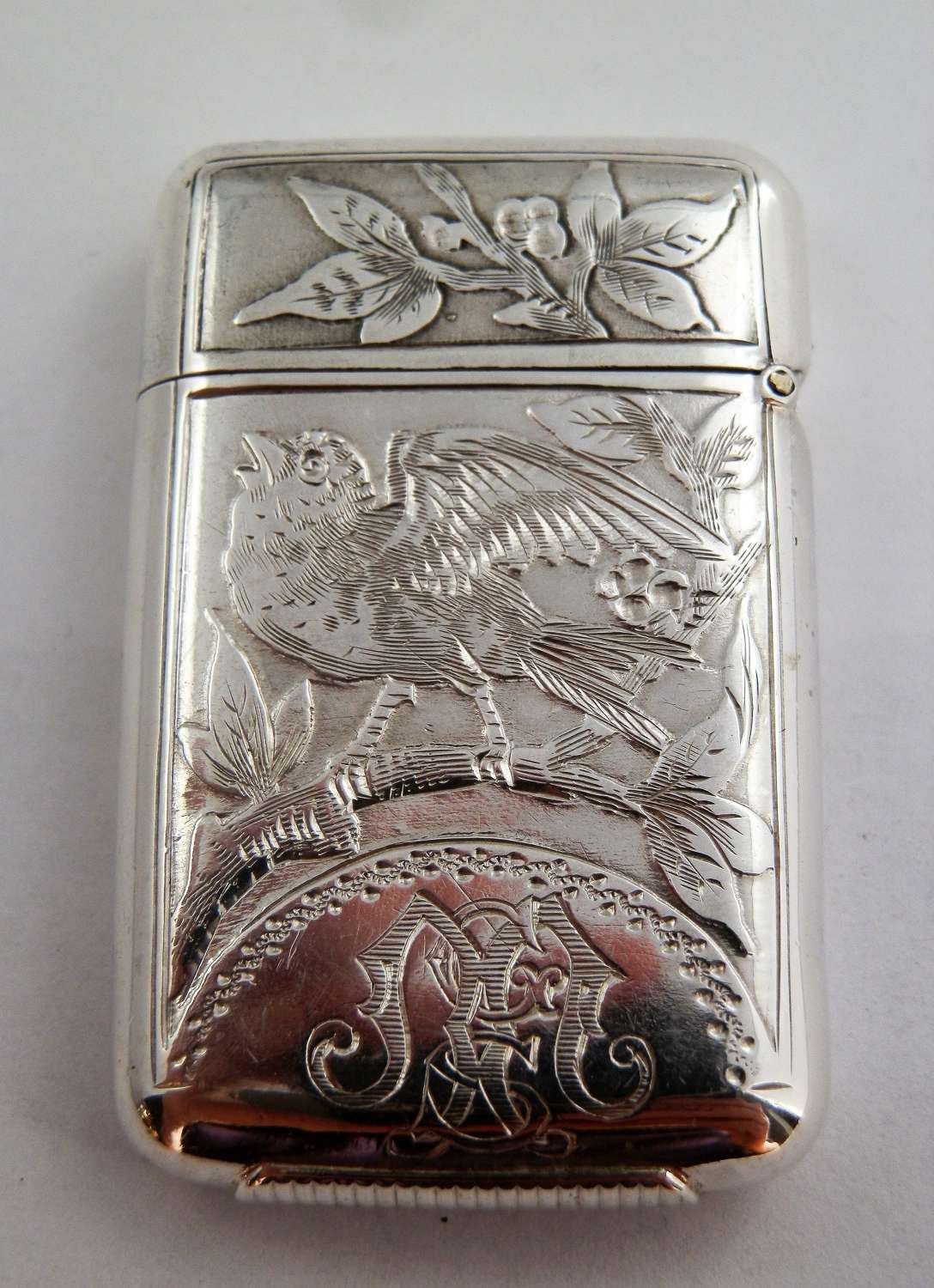 Samson Mordan silver vesta case, London 1881