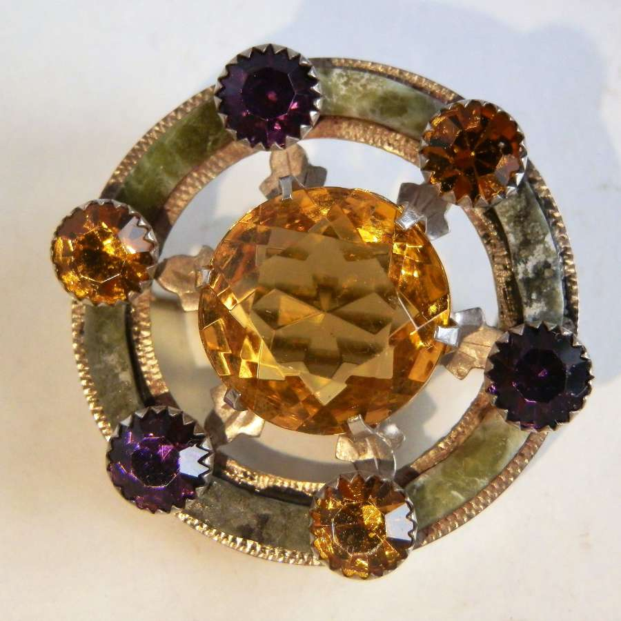 Scottish Victorian agate brooch, c.1880