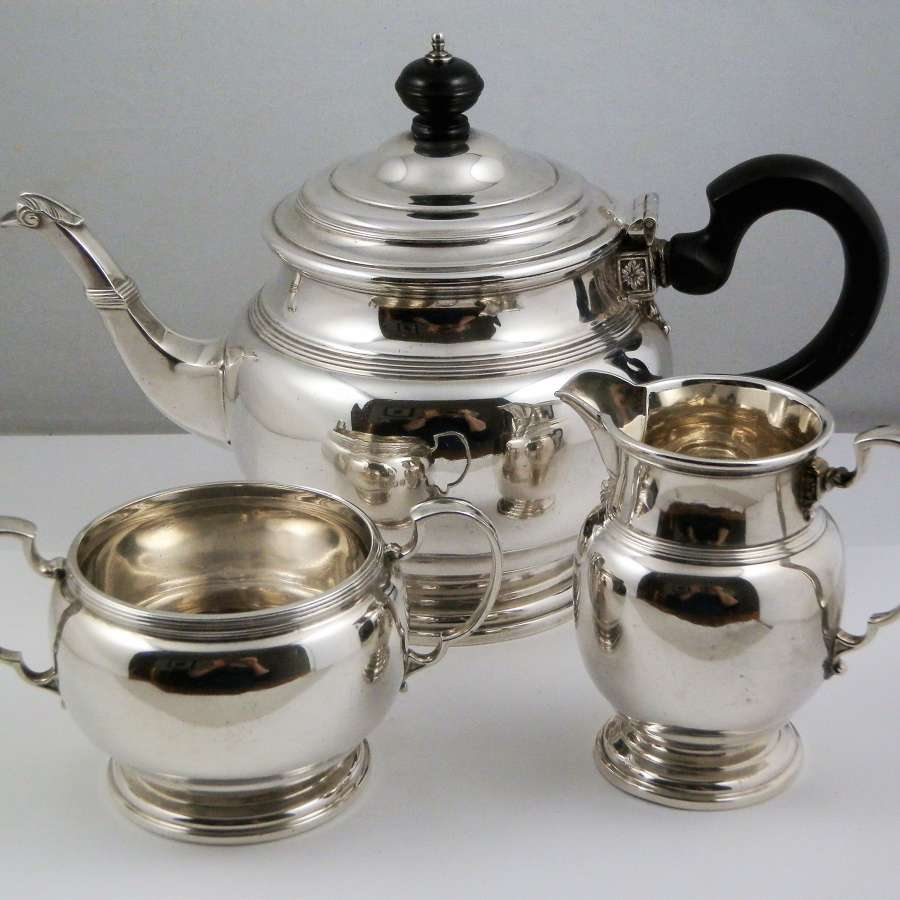 Silver three piece tea set, Mappin & Webb 1926