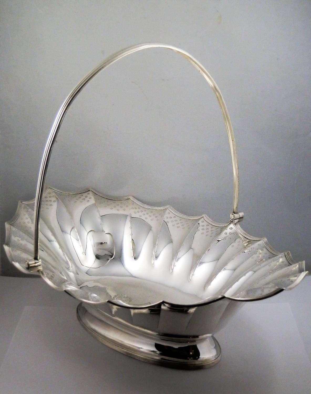 George III large silver basket, London 1788